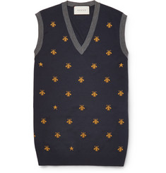 Gucci Bee-Patterned Wool Sweater Vest