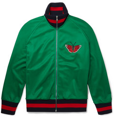 Gucci Appliquéd Printed Tech-Jersey Zip-Up Sweatshirt