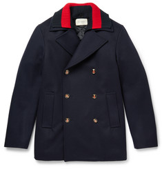 Gucci Strip-Trimmed Wool Peacoat