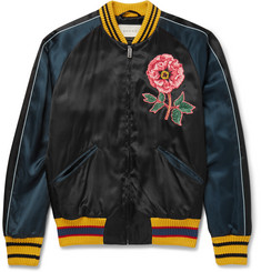 Gucci Appliquéd Satin Souvenir Jacket