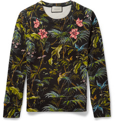 Gucci Tropical-Print Loopback Cotton-Jersey Sweatshirt