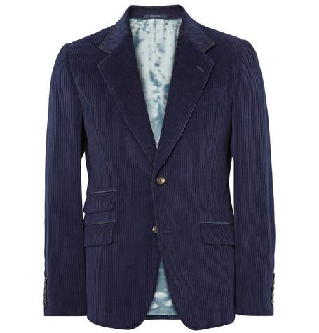 GUCCI Blue Slim-Fit Suede-Trimmed Cotton-Corduroy Blazer