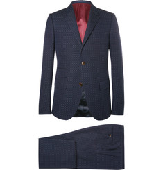 Gucci Blue Slim-Fit Signoria Slim-Fit Micro-Spot Cotton and Wool-Blend Suit