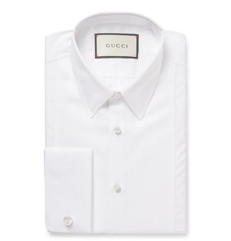 gucci male 45883 gucci white slimfit bibfront doublecuff cottonpoplin shirt white
