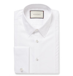 Gucci - White Slim-Fit Bib-Front Double-Cuff Cotton-Poplin Shirt