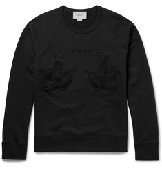 Gucci Hummingbird Embroidered Loopback Cotton-Jersey Sweater