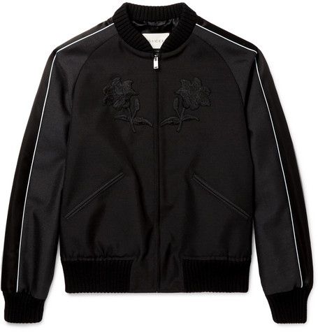 gucci male 188971 gucci appliqued wool and mohairblend souvenir jacket black