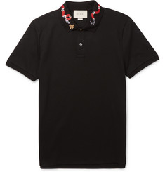 Gucci Slim-Fit Embroidered Cotton-Piqué Polo Shirt