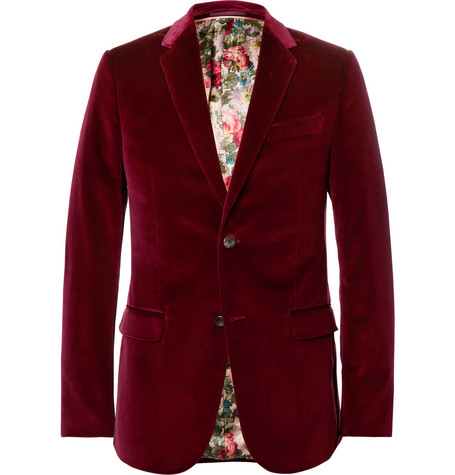 gucci male gucci burgundy slimfit stretchcotton velvet blazer burgundy
