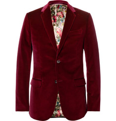 Gucci Burgundy Slim-Fit Stretch-Cotton Velvet Blazer