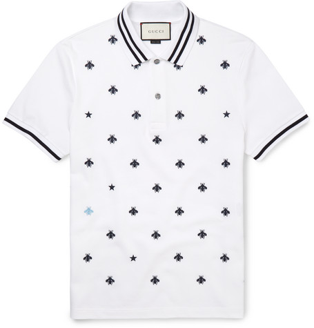 gucci male 45883 gucci slimfit embroidered cottonblend pique polo shirt white