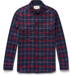 Gucci Slim-Fit Appliquéd Checked Wool-Blend Flannel Shirt
