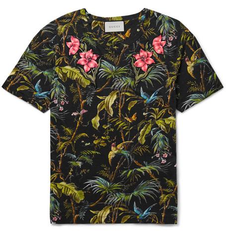 gucci male 188971 gucci slimfit appliqued tropicalprint linenjersey tshirt black