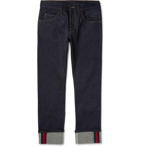 gucci male 201920 gucci cropped stretchdenim jeans blue