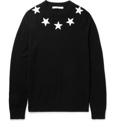 Givenchy - Slim-Fit Star Appliquéd Wool Sweater