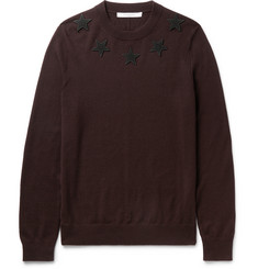 Givenchy Slim-Fit Star Appliquéd Wool Sweater