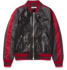 Givenchy Slim-Fit Appliquéd Leather and Satin Bomber Jacket