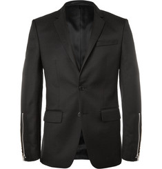 Givenchy Black Slim-Fit Zip-Trimmed Wool-Blend Blazer