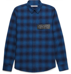 Givenchy Slim-Fit Leather-Trimmed Checked Cotton-Flannel Shirt