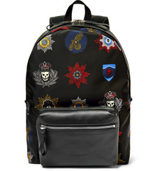 Alexander McQueen Printed Leather-Trimmed Shell Backpack