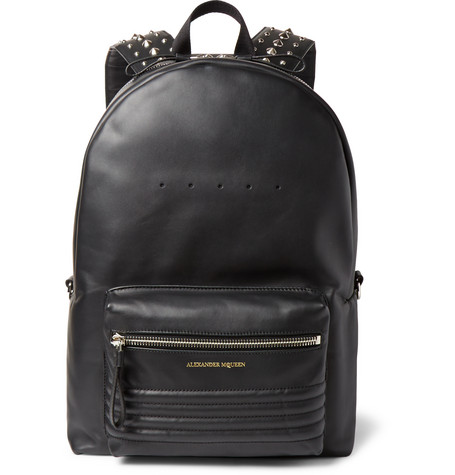 alexander mcqueen male 188971 alexander mcqueen studded leather backpack black