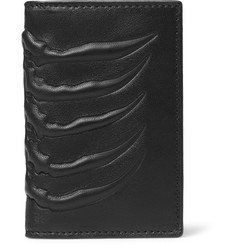 Alexander McQueen Ribcage-Embossed Leather Bifold Cardholder