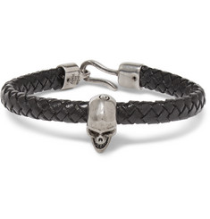 Alexander McQueen Braided Leather and Burnished Silver-Tone Skull Bracelet