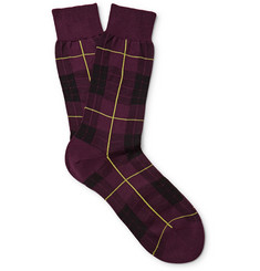 Alexander McQueen Checked Cotton-Blend Socks
