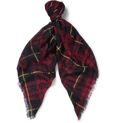 Alexander McQueen Check and Skull-Patterned Modal, Cashmere and Silk-Blend Scarf