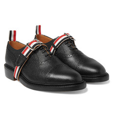 Thom Browne - Grosgrain-Trimmed Pebble-Grain Leather Brogues