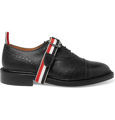 Thom Browne Grosgrain-Trimmed Pebble-Grain Leather Brogues