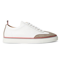 Thom Browne Suede-Trimmed Full-Grain Leather Sneakers