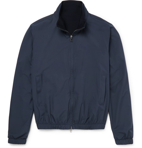 Reversible Storm System Shell And Cashmere Bomber Jacket - Navy