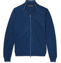 Loro Piana Contrast-Tipped Cashmere Zip-Up Sweater