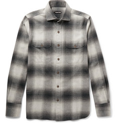 TOM FORD Slim-Fit Cutaway-Collar Checked Cotton-Flannel Shirt