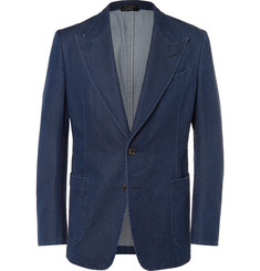 Tom Ford Blue Slim-Fit Denim Blazer
