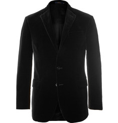 Polo Ralph Lauren Black Slim-Fit Cotton-Velvet Blazer