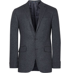 Polo Ralph Lauren Blue Slim-Fit Herringbone Wool and Silk-Blend Blazer