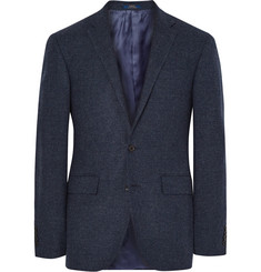 Polo Ralph Lauren Blue Slim-Fit Micro-Checked Virgin Wool Blazer