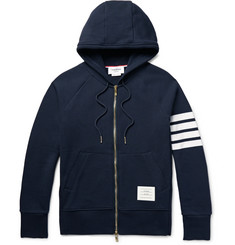 Thom Browne - Striped Loopback Cotton-Jersey Hoodie