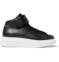 Alexander McQueen Exaggerated-Sole Leather High-Top Sneakers