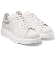 Alexander McQueen - Exaggerated-Sole Snake-Effect Leather Sneakers
