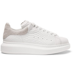 Alexander McQueen Exaggerated-Sole Snake-Effect Leather Sneakers