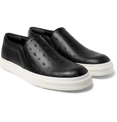 Alexander McQueen - Skull-Embossed Leather Slip-On Sneakers