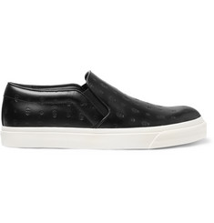 Alexander McQueen Skull-Embossed Leather Slip-On Sneakers