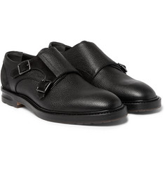 Alexander McQueen - Suede-Panelled Full-Grain Leather Monk-Strap Shoes