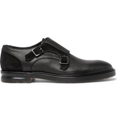 Alexander McQueen Suede-Panelled Full-Grain Leather Monk-Strap Shoes
