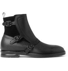 Alexander McQueen Suede and Grained-Leather Monk-Strap Boots