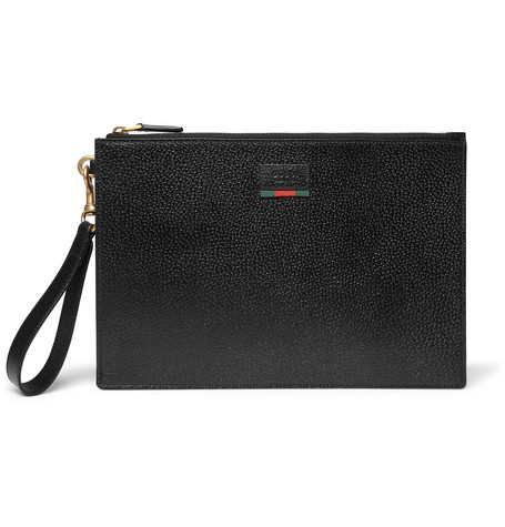 gucci male gucci agora grainedleather pouch black