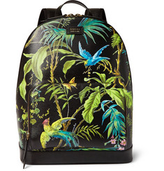 Gucci Tropical-Print Full-Grain Leather Backpack